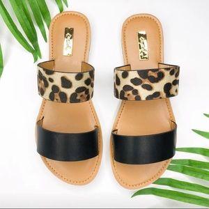 Qupid Black Leopard Two Strap Slide Sandals